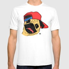 PUG THUG  White Mens Fitted Tee SMALL