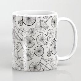 Monochrome Vintage Bicycles of Soft Grey Coffee Mug
