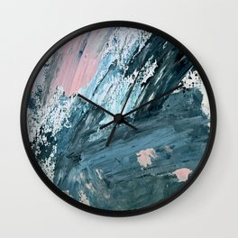 Wilmington: a colorful abstract acrylic piece in pinks and blues Wall Clock