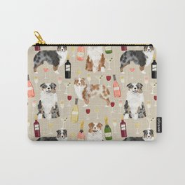 Australian Shepherd blue and red merle wine cocktails yappy hour pattern dog breed Carry-All Pouch