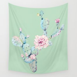 Rose Desert Cactus Mint Green + Pink Wall Tapestry