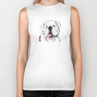 english bulldog Biker Tanks featuring English bulldog // White  by ali_grace_gal