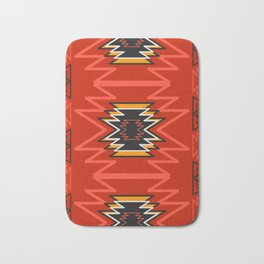 Ethnic lines in red Bath Mat