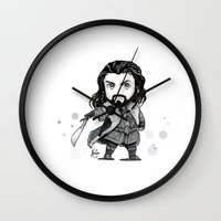 thorin Wall Clocks featuring Thorin Chibi by KuroCyou