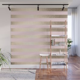 Stripes White Gold Sands on Pink Flamingo Wall Mural