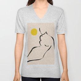 abstract minimal nude Unisex V-Neck