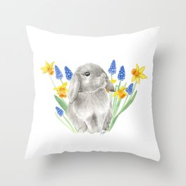 Gray Baby Bunny with Spring Flowers Throw Pillow