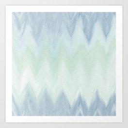 Modern geometrical pastel blue mint green watercolor ikat Art Print