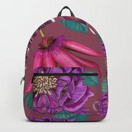 Passiflora and hellebore flower pattern purple Backpack