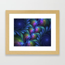 Colorful Luminous Abstract Blue Pink Green Fractal Framed Art Print