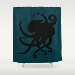 """""""Octopus Silhouette"""" digital illustration by Amber Marine, (Copyright 2015) Shower Curtain"""