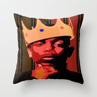 kendrick lamar Throw Pillows featuring King Kendrick by UnifiedGlory