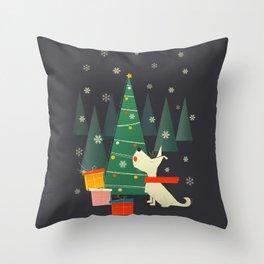 Little White Christmas Westie Throw Pillow