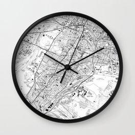 Vintage Map of Jersey City NJ (1967) BW Wall Clock