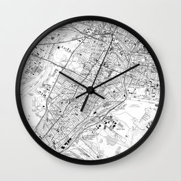 Vintage Map of Jersey City NJ (1967) BW Wall Clock