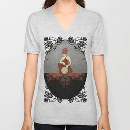 Rastafari Woman on Bongo Drum Unisex V-Neck