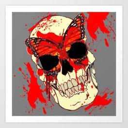 HALLOWEEN BLOODY SKULL & BUTTERFLY ART Art Print