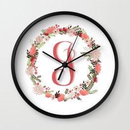 Personal monogram letter 'J' flower wreath Wall Clock