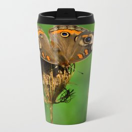 COMMON BUCKEYE BUTTERFLY IN THE FALL (Close-Up) Metal Travel Mug