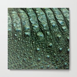 Green Alligator Leather Print Metal Print