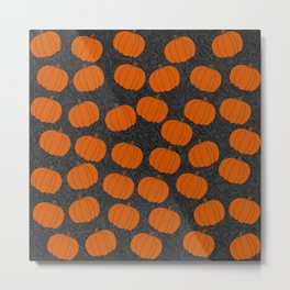 Cute Pumpkins on Grey Background Metal Print