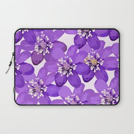 Purple wildflowers on a white background - spring atmosphere Laptop Sleeve