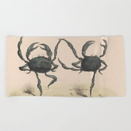Vintage Illustration of Dancing Crabs (1849) Beach Towel