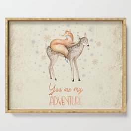 You are my adventure- fox and deer in winter- merry christmas Serving Tray