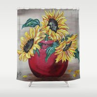 "you are my sunshine Shower Curtains featuring ""You Are My Sunshine"" by Angie's Dreamworks"