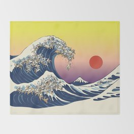The Great Wave Of  Cat Throw Blanket