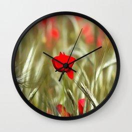 Hot Poppy Wall Clock