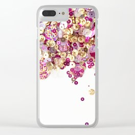 Pink and Gold Sequins Celebration! Clear iPhone Case
