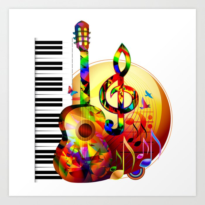 musical notes instruments colorful guitar painting piano birds clef flying treble artwork society6 prints arija