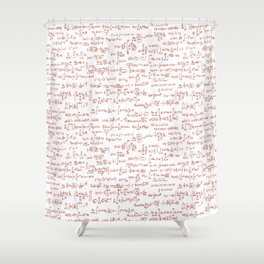 Red Math Equations Shower Curtain