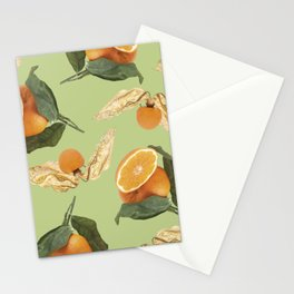 Oranges and Physalis Fruits Pattern on green Background Stationery Cards