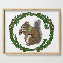 Tree Squirrel in Holly Holiday Wreath Serving Tray