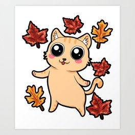 A Cat Dancing in brown Leaves Corgi Autumn Fall Art Print