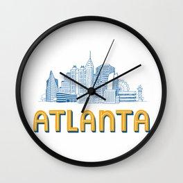 Atlanta Skyline Illustration Wall Clock
