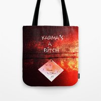 karma Tote Bags featuring Karma by Veronica Ventress