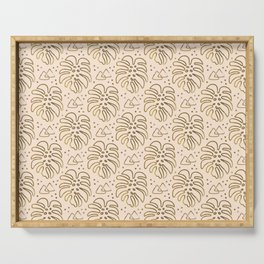 Gold Monstera on Cream Serving Tray