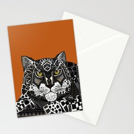 snow leopard orange Stationery Cards