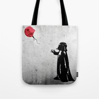 banksy Tote Bags featuring Little Vader - Inspired by Banksy by kamonkey