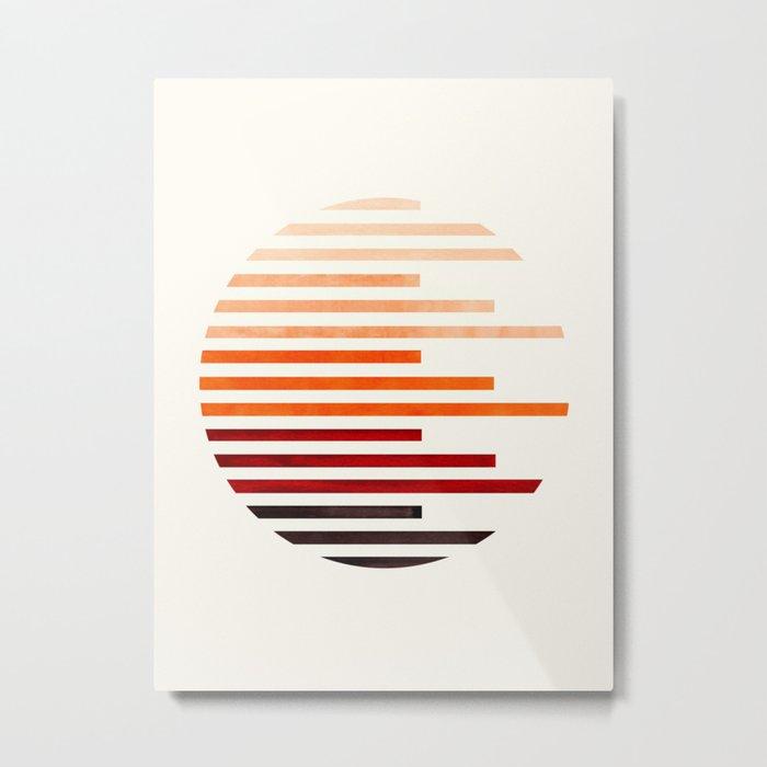 Mid Century Modern Minimalist Circle Round Photo Burnt Sienna Staggered Stripe Pattern Metal Print