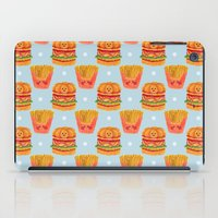 french fries iPad Cases featuring Hamburger and French Fries Pattern by haidishabrina