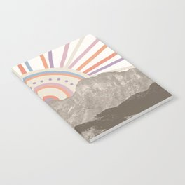 Summerlin Mountain Up // Abstract Vintage Mountains Summer Sun Surf Beach Vibe Drawing Happy Wall Ha Notebook