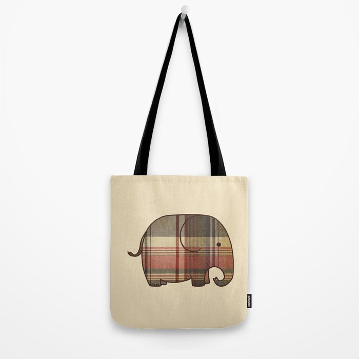 Plaid Elephant  Tote Bag