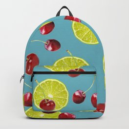 Cherries Lime pattern - turquoise Backpack