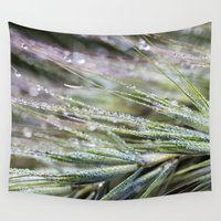 weed Wall Tapestries featuring dewy weed by Bonnie Jakobsen-Martin