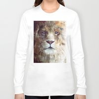 animal crew Long Sleeve T-shirts featuring Lion // Majesty by Amy Hamilton
