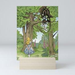 Alice Meets The Alien in Wonderland Mini Art Print